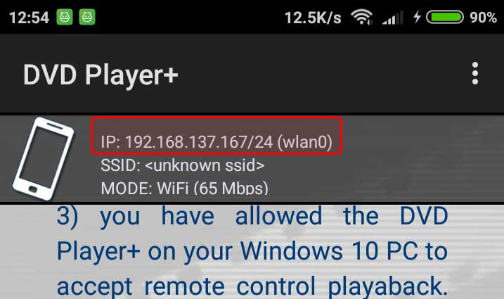 DVD Player+ Active WiFi connection on the Android! Notice the IP: ...