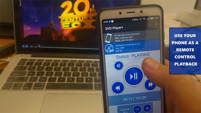 Android Phone as a Remote Control for playback- DVD Player+ phone edition